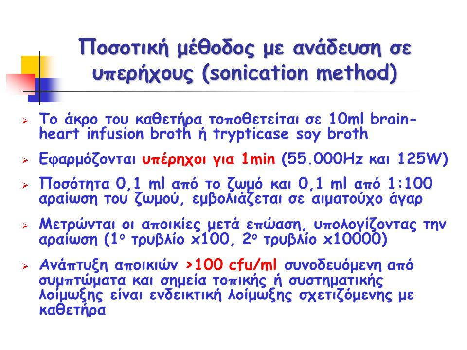 Ποσοτική μέθοδος με ανάδευση σε υπερήχους (sonication method)  Το άκρο του καθετήρα τοποθετείται σε 10ml brain- heart infusion broth ή trypticase soy