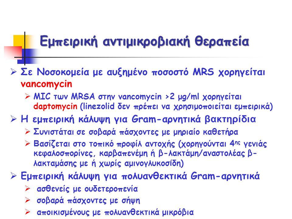 Εμπειρική αντιμικροβιακή θεραπεία  Σε Νοσοκομεία με αυξημένο ποσοστό MRS χορηγείται vancomycin  MIC των MRSΑ στην vancomycin ›2 μg/ml χορηγείται dap