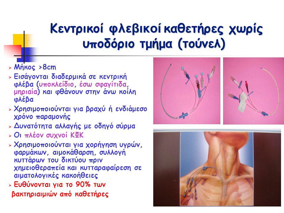 Ποσοτικές αιμοκαλλιέργειες από διαφορετικούς αυλούς του καθετήρα  Σε περίπτωση μη δυνατής λήψης αιμοκαλλιέργειας από περιφερική φλέβα  Συνιστάται λήψη αιμοκαλλιεργειών από 2 (ή περισσότερους) διαφορετικούς αυλούς και ποσοτική αιμοκαλλιέργεια  Ανάπτυξη ίδιου μικροβίου με σχέση αριθμού αποικιών ≥3:1 είναι ενδεικτική βακτηριαιμίας σχετιζόμενης με καθετήρα  Η διαφορά στον χρόνο θετικοποίησης δεν αποτελεί ακόμα κριτήριο  Μειονέκτημα: Ψευδώς θετικές αιμοκαλλιέργειες από καθετήρα