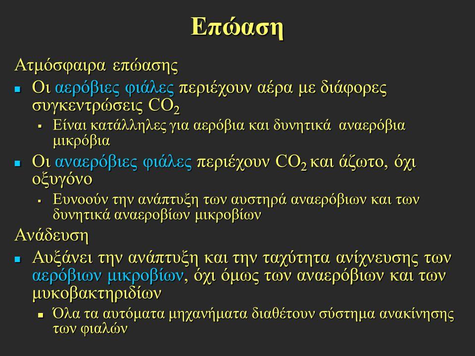Επώαση Ατμόσφαιρα επώασης Οι αερόβιες φιάλες περιέχουν αέρα με διάφορες συγκεντρώσεις CO 2 Οι αερόβιες φιάλες περιέχουν αέρα με διάφορες συγκεντρώσεις