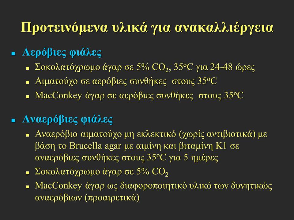Προτεινόμενα υλικά για ανακαλλιέργεια Αερόβιες φιάλες Αερόβιες φιάλες Σοκολατόχρωμο άγαρ σε 5% CO 2, 35 ο C για 24-48 ώρες Σοκολατόχρωμο άγαρ σε 5% CO