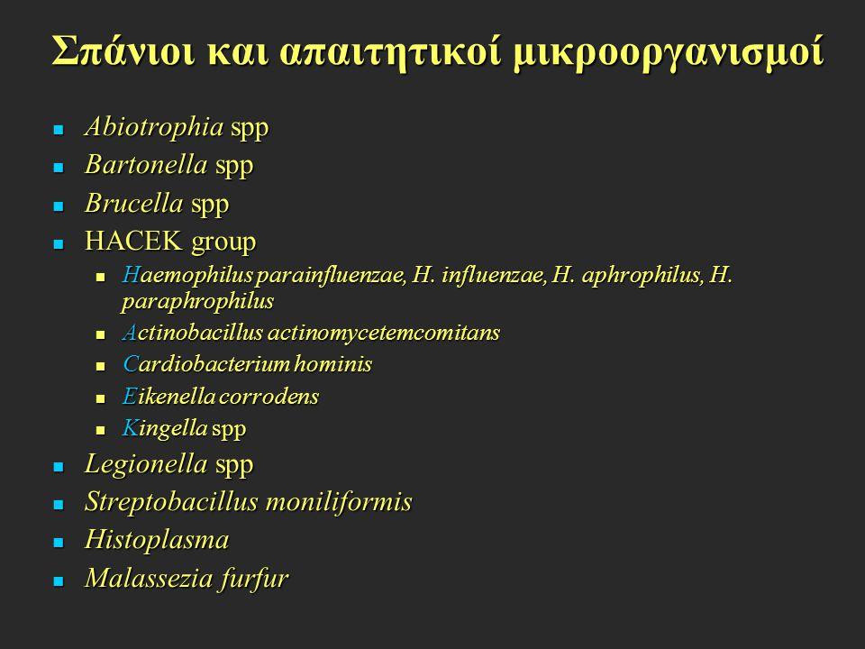 Σπάνιοι και απαιτητικοί μικροοργανισμοί Abiotrophia spp Abiotrophia spp Bartonella spp Bartonella spp Brucella spp Brucella spp HACEK group HACEK grou