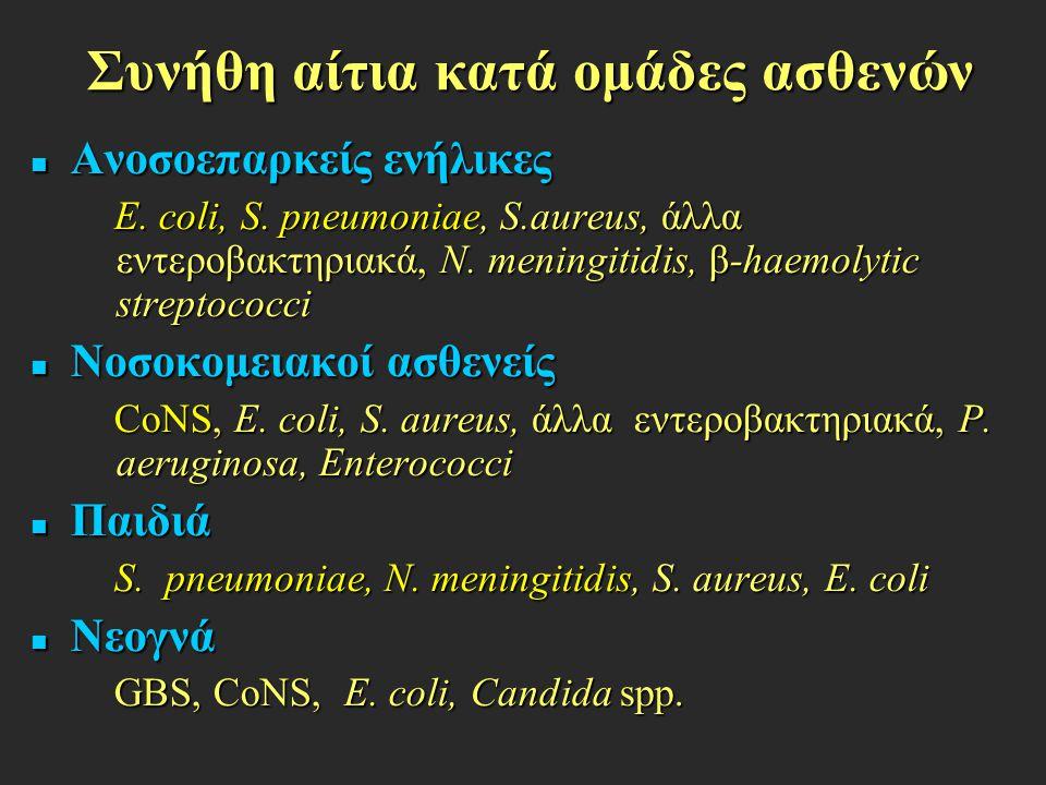 Συνήθη αίτια κατά ομάδες ασθενών Ανοσοεπαρκείς ενήλικες Ανοσοεπαρκείς ενήλικες E. coli, S. pneumoniae, S.aureus, άλλα εντεροβακτηριακά, N. meningitidi