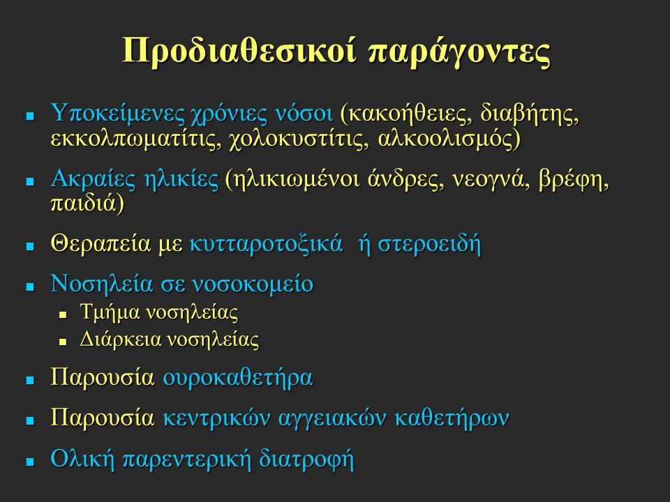 Προδιαθεσικοί παράγοντες Υποκείμενες χρόνιες νόσοι (κακοήθειες, διαβήτης, εκκολπωματίτις, χολοκυστίτις, αλκοολισμός) Υποκείμενες χρόνιες νόσοι (κακοήθ