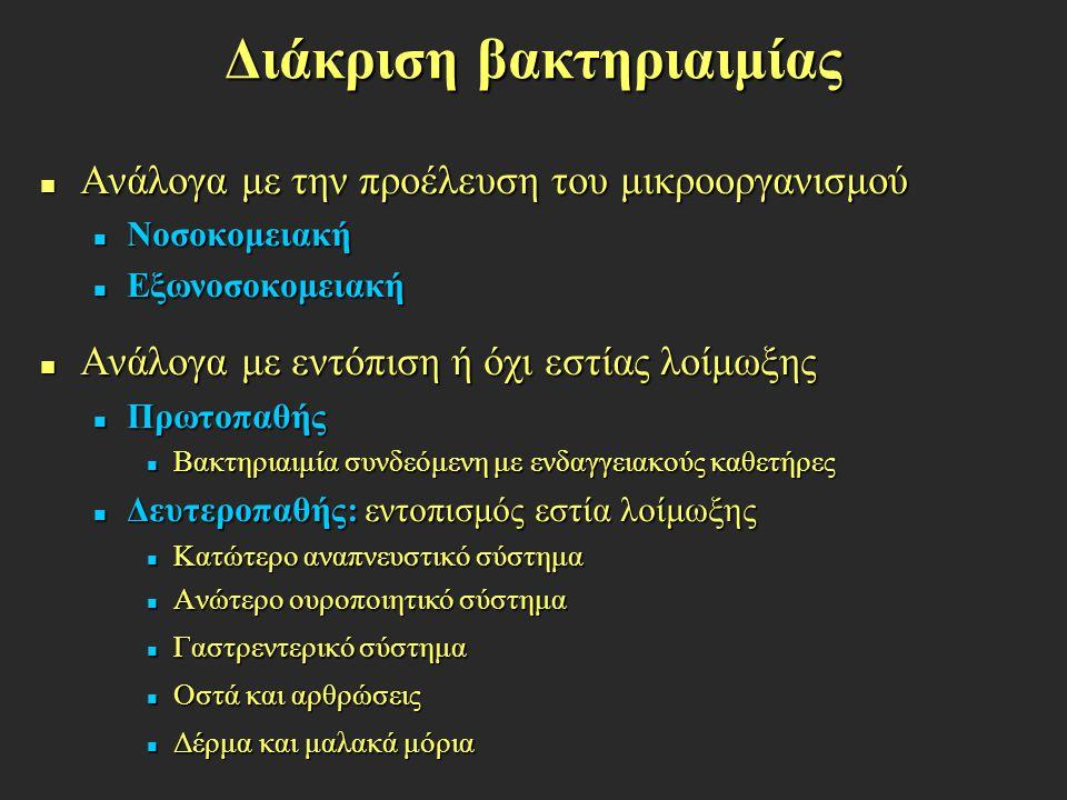 Προδιαθεσικοί παράγοντες Υποκείμενες χρόνιες νόσοι (κακοήθειες, διαβήτης, εκκολπωματίτις, χολοκυστίτις, αλκοολισμός) Υποκείμενες χρόνιες νόσοι (κακοήθειες, διαβήτης, εκκολπωματίτις, χολοκυστίτις, αλκοολισμός) Ακραίες ηλικίες (ηλικιωμένοι άνδρες, νεογνά, βρέφη, παιδιά) Ακραίες ηλικίες (ηλικιωμένοι άνδρες, νεογνά, βρέφη, παιδιά) Θεραπεία με κυτταροτοξικά ή στεροειδή Θεραπεία με κυτταροτοξικά ή στεροειδή Νοσηλεία σε νοσοκομείο Νοσηλεία σε νοσοκομείο Τμήμα νοσηλείας Τμήμα νοσηλείας Διάρκεια νοσηλείας Διάρκεια νοσηλείας Παρουσία ουροκαθετήρα Παρουσία ουροκαθετήρα Παρουσία κεντρικών αγγειακών καθετήρων Παρουσία κεντρικών αγγειακών καθετήρων Ολική παρεντερική διατροφή Ολική παρεντερική διατροφή