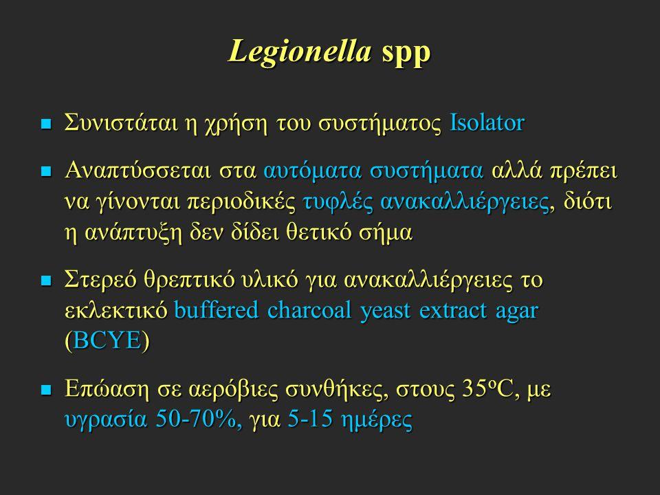Legionella spp Συνιστάται η χρήση του συστήματος Isolator Συνιστάται η χρήση του συστήματος Isolator Αναπτύσσεται στα αυτόματα συστήματα αλλά πρέπει ν
