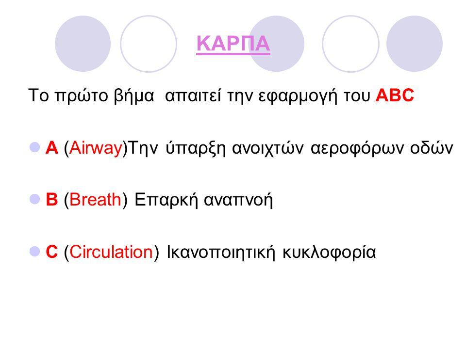 ΚΑΡΠΑ Το πρώτο βήμα απαιτεί την εφαρμογή του ABC A (Airway)Την ύπαρξη ανοιχτών αεροφόρων οδών B (Breath) Επαρκή αναπνοή C (Circulation) Ικανοποιητική