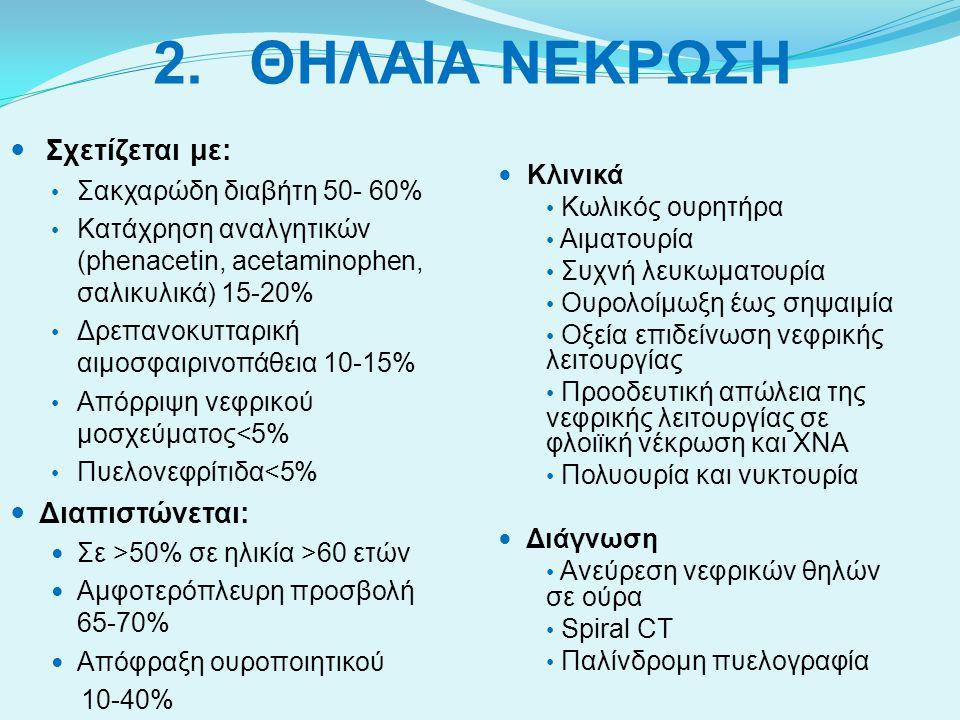 2.ΘΗΛΑΙΑ ΝΕΚΡΩΣΗ Σχετίζεται με: Σακχαρώδη διαβήτη 50- 60% Κατάχρηση αναλγητικών (phenacetin, acetaminophen, σαλικυλικά) 15-20% Δρεπανοκυτταρική αιμοσφ