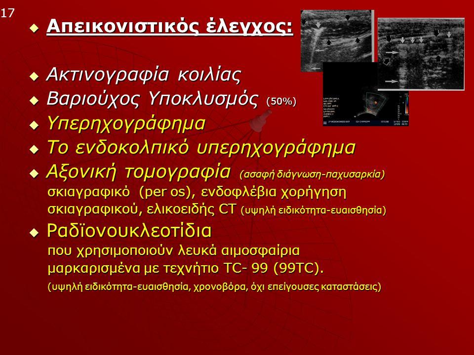 Απεικονιστικός έλεγχος:  Ακτινογραφία κοιλίας  Βαριούχος Υποκλυσμός (50%)  Υπερηχογράφημα  Tο ενδοκολπικό υπερηχογράφημα  Αξονική τομογραφία (α