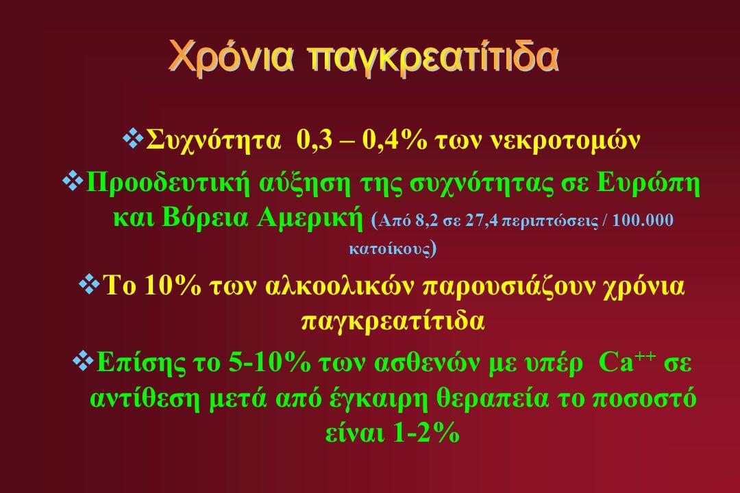  Συχνότητα 0,3 – 0,4% των νεκροτομών  Προοδευτική αύξηση της συχνότητας σε Ευρώπη και Βόρεια Αμερική ( Από 8,2 σε 27,4 περιπτώσεις / 100.000 κατοίκους )  Το 10% των αλκοολικών παρουσιάζουν χρόνια παγκρεατίτιδα  Επίσης το 5-10% των ασθενών με υπέρ Ca ++ σε αντίθεση μετά από έγκαιρη θεραπεία το ποσοστό είναι 1-2%