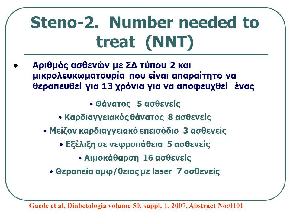 Steno-2. Number needed to treat (ΝΝΤ) Αριθμός ασθενών με ΣΔ τύπου 2 και μικρολευκωματουρία που είναι απαραίτητο να θεραπευθεί για 13 χρόνια για να απο