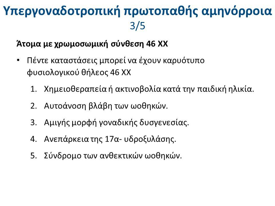 Υπεργοναδοτροπική πρωτοπαθής αμηνόρροια 3/5 Άτομα με χρωμοσωμική σύνθεση 46 ΧΧ Πέντε καταστάσεις μπορεί να έχουν καρυότυπο φυσιολογικού θήλεος 46 ΧΧ 1