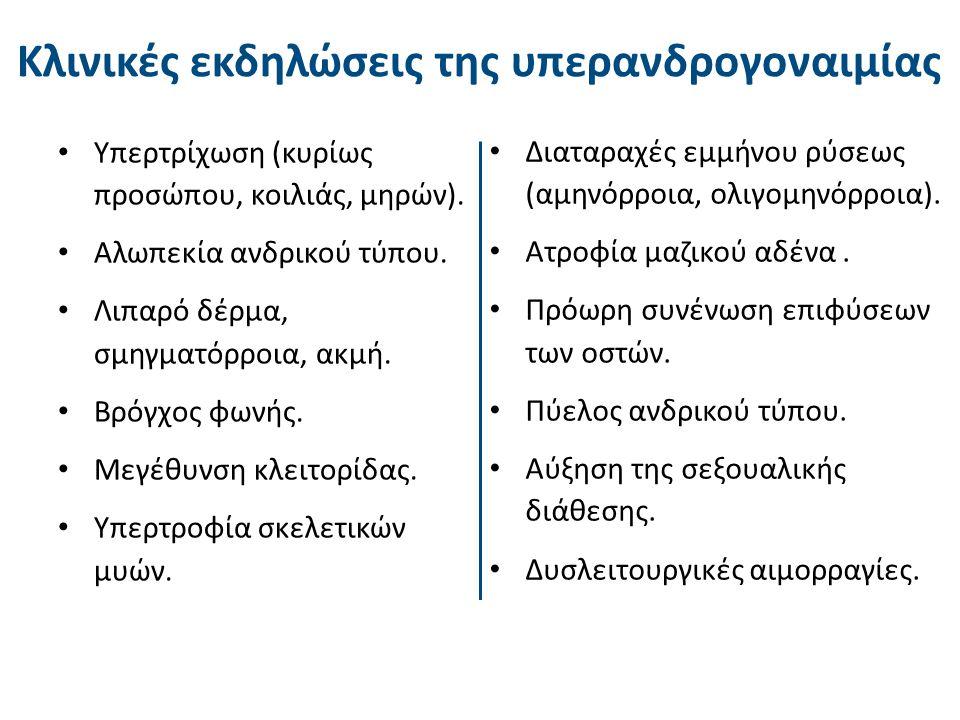 Κλινικές εκδηλώσεις της υπερανδρογοναιμίας Υπερτρίχωση (κυρίως προσώπου, κοιλιάς, μηρών). Αλωπεκία ανδρικού τύπου. Λιπαρό δέρμα, σμηγματόρροια, ακμή.