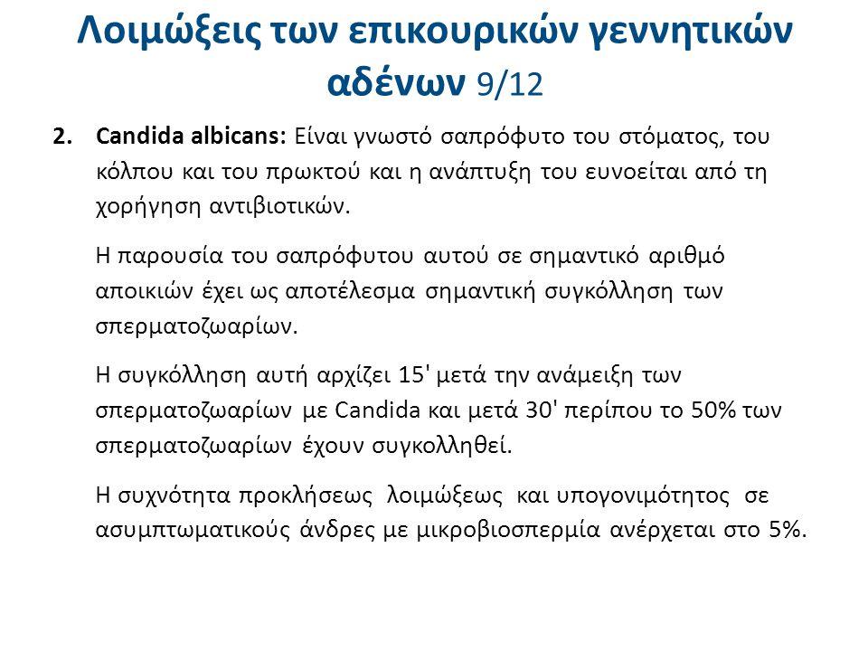 Λοιμώξεις των επικουρικών γεννητικών αδένων 9/12 2.Candida albicans: Είναι γνωστό σαπρόφυτο του στόματος, του κόλπου και του πρωκτού και η ανάπτυξη το