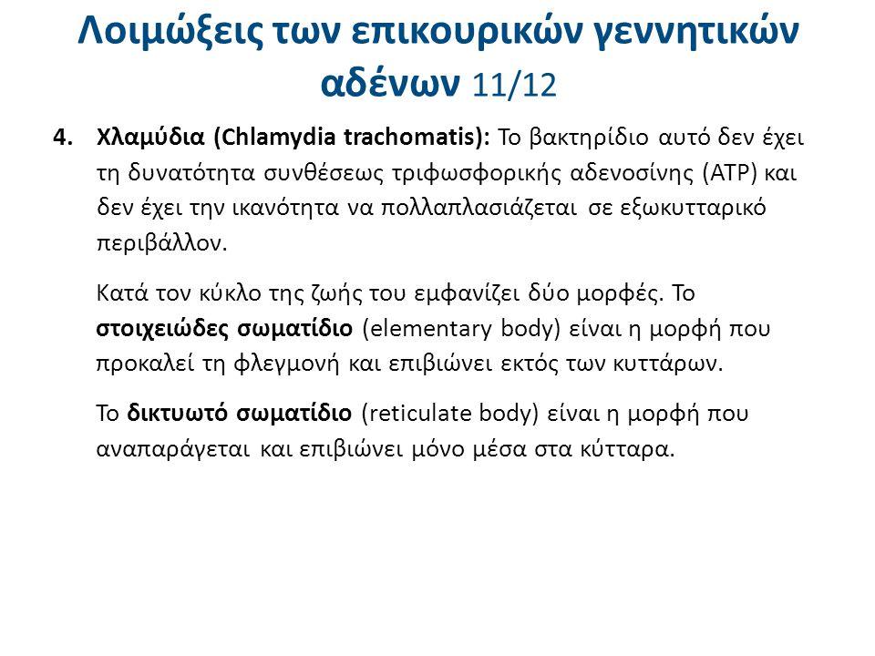 Λοιμώξεις των επικουρικών γεννητικών αδένων 11/12 4.Χλαμύδια (Chlamydia trachomatis): Το βακτηρίδιο αυτό δεν έχει τη δυνατότητα συνθέσεως τριφωσφορική