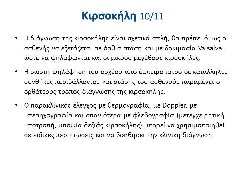 Κιρσοκήλη 10/11 Η διάγνωση της κιρσοκήλης είναι σχετικά απλή, θα πρέπει όμως ο ασθενής να εξετάζεται σε όρθια στάση και με δοκιμασία Valsalva, ώστε να