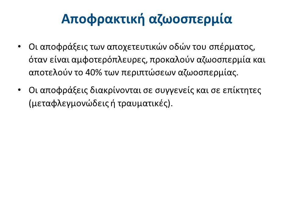Αποφρακτική αζωοσπερμία Οι αποφράξεις των αποχετευτικών οδών του σπέρματος, όταν είναι αμφοτερόπλευρες, προκαλούν αζωοσπερμία και αποτελούν το 40% των