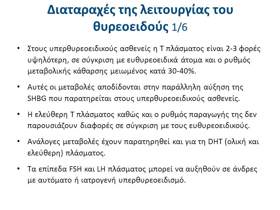 Διαταραχές της λειτουργίας του θυρεοειδούς 1/6 Στους υπερθυρεοειδικούς ασθενείς η Τ πλάσματος είναι 2-3 φορές υψηλότερη, σε σύγκριση με ευθυρεοειδικά