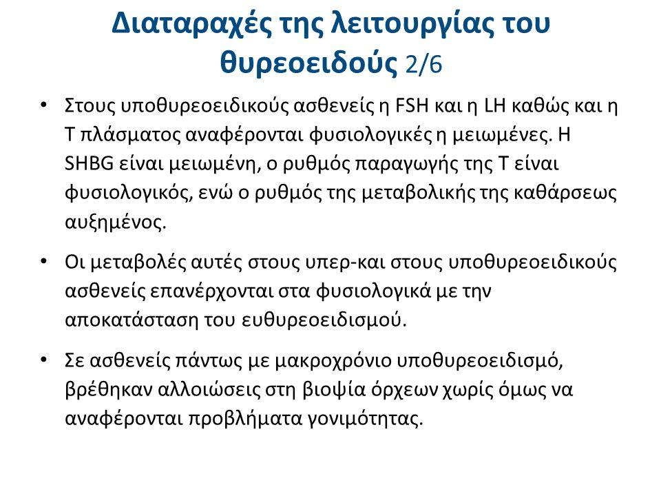 Διαταραχές της λειτουργίας του θυρεοειδούς 2/6 Στους υποθυρεοειδικούς ασθενείς η FSΗ και η LΗ καθώς και η Τ πλάσματος αναφέρονται φυσιολογικές η μειωμ