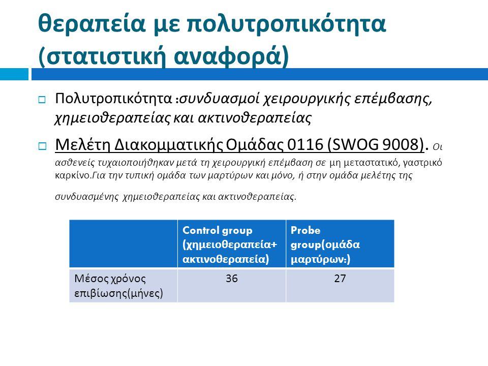 θεραπεία με πολυτροπικότητα ( στατιστική αναφορά )  Πολυτροπικότητα : συνδυασμοί χειρουργικής επέμβασης, χημειοθεραπείας και ακτινοθεραπείας  Μελέτη