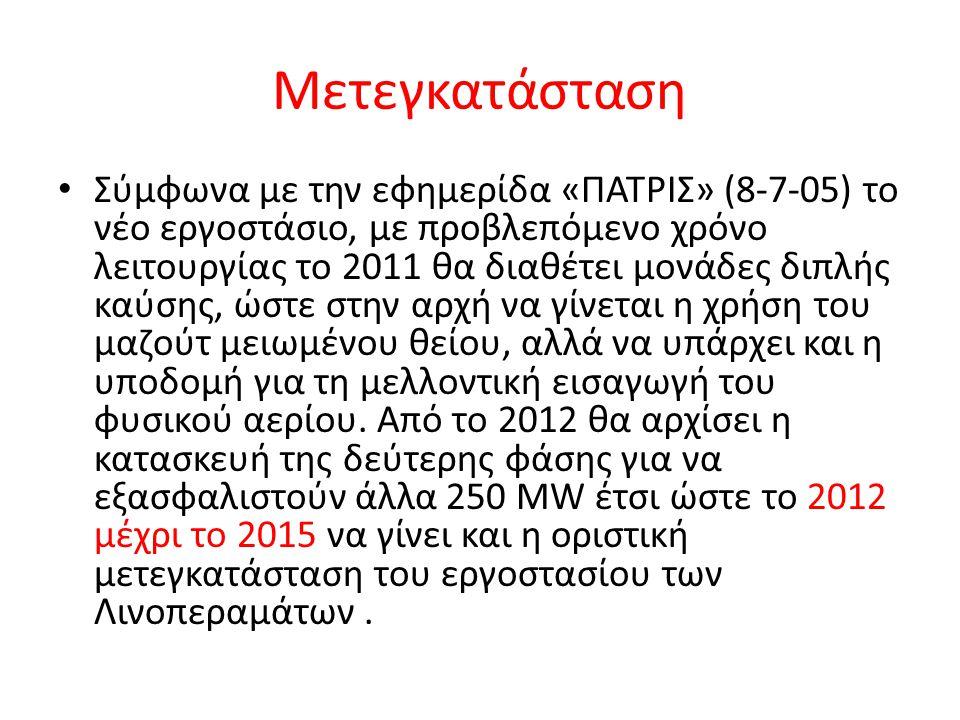 Μετεγκατάσταση Σύμφωνα με την εφημερίδα «ΠΑΤΡΙΣ» (8-7-05) το νέο εργοστάσιο, με προβλεπόμενο χρόνο λειτουργίας το 2011 θα διαθέτει μονάδες διπλής καύσ