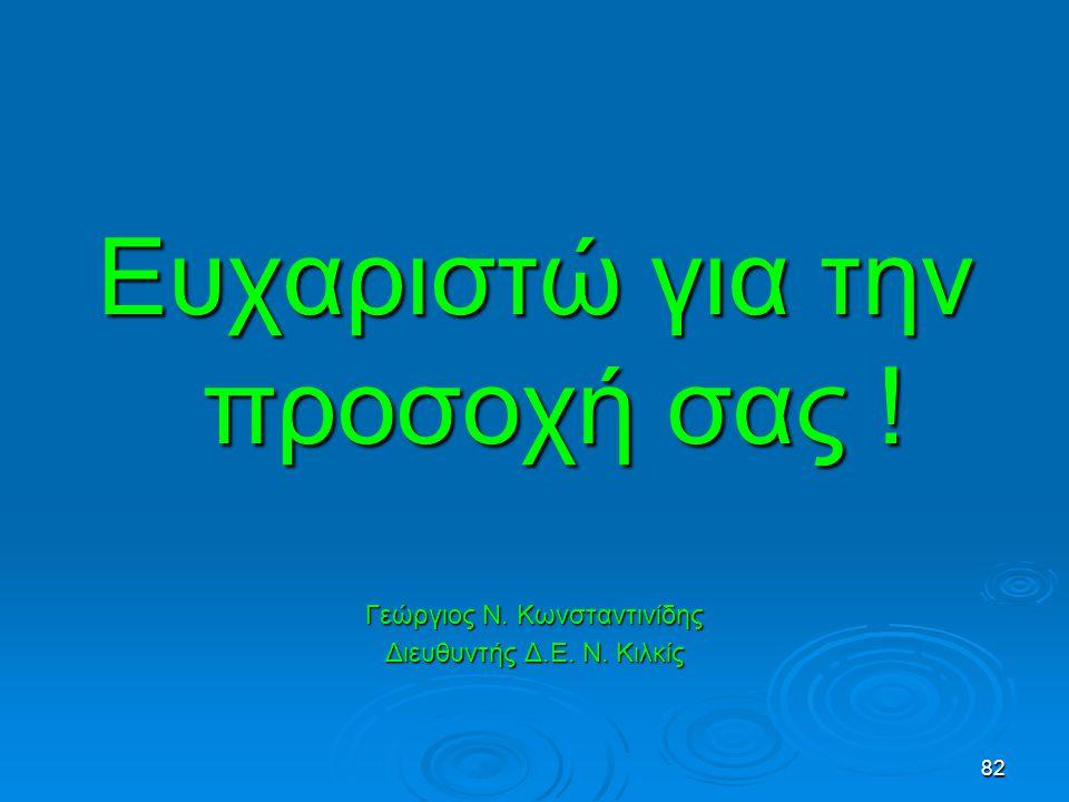 82 Ευχαριστώ για την προσοχή σας ! Γεώργιος Ν. Κωνσταντινίδης Διευθυντής Δ.Ε. Ν. Κιλκίς