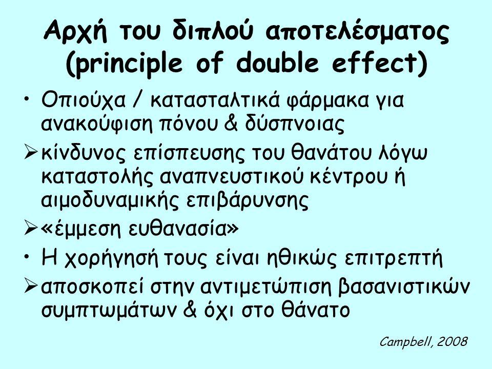 Αρχή του διπλού αποτελέσματος (principle of double effect) Οπιούχα / κατασταλτικά φάρμακα για ανακούφιση πόνου & δύσπνοιας  κίνδυνος επίσπευσης του θανάτου λόγω καταστολής αναπνευστικού κέντρου ή αιμοδυναμικής επιβάρυνσης  «έμμεση ευθανασία» Η χορήγησή τους είναι ηθικώς επιτρεπτή  αποσκοπεί στην αντιμετώπιση βασανιστικών συμπτωμάτων & όχι στο θάνατο Campbell, 2008
