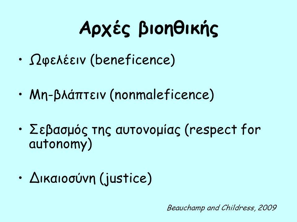 Αρχές βιοηθικής Ωφελέειν (beneficence) Μη-βλάπτειν (nonmaleficence) Σεβασμός της αυτονομίας (respect for autonomy) Δικαιοσύνη (justice) Beauchamp and