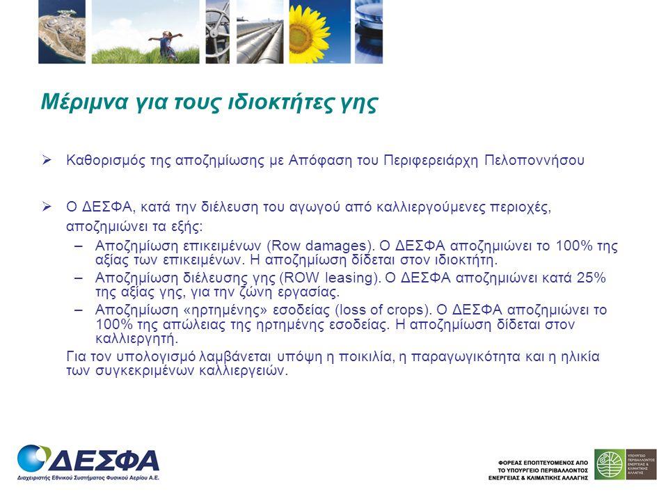 Ενδεικτικές τιμές (για το συγκεκριμένο έργο του Κλάδου Μεγαλόπολης), βάσει Προϋπολογισμού Αποζημίωση Ελαιώνων: μέση ενδεικτική τιμή 350 ευρώ/τεμ.