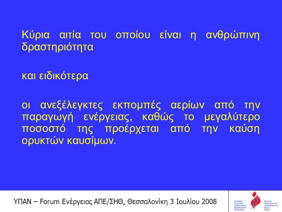 ΥΠΑΝ – Forum Ενέργειας ΑΠΕ/ΣΗΘ, Θεσσαλονίκη 3 Ιουλίου 2008 Παγκόσμιες εκπομπές διοξειδίου του άνθρακα