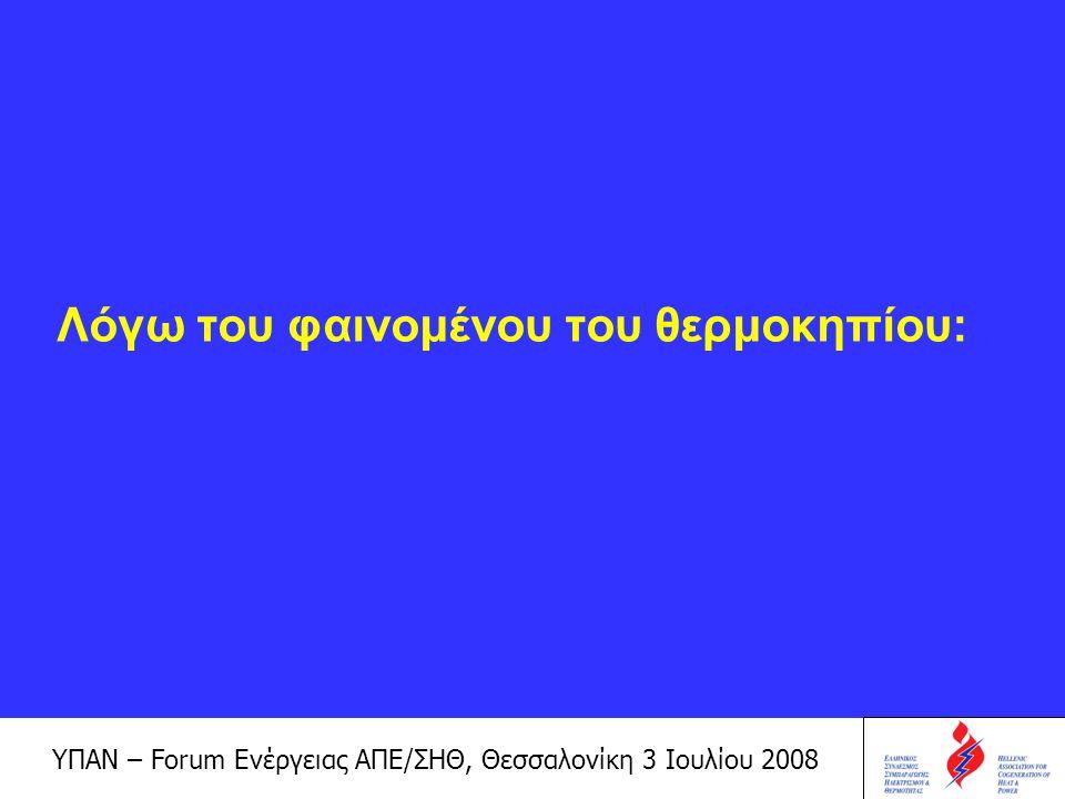 ΥΠΑΝ – Forum Ενέργειας ΑΠΕ/ΣΗΘ, Θεσσαλονίκη 3 Ιουλίου 2008 Αυξάνεται η μέση θερμοκρασία της Γης