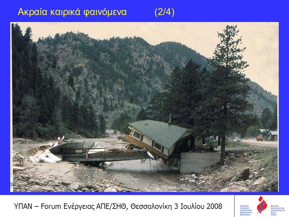 ΥΠΑΝ – Forum Ενέργειας ΑΠΕ/ΣΗΘ, Θεσσαλονίκη 3 Ιουλίου 2008 Ακραία καιρικά φαινόμενα (3/4)