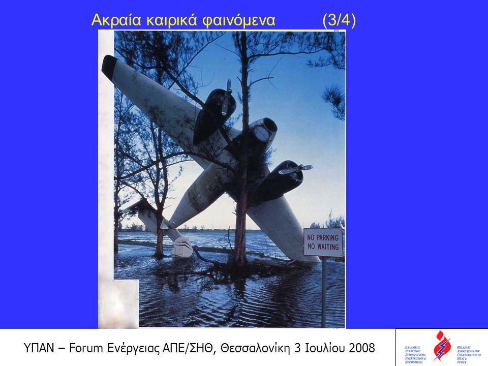 ΥΠΑΝ – Forum Ενέργειας ΑΠΕ/ΣΗΘ, Θεσσαλονίκη 3 Ιουλίου 2008 Ακραία καιρικά φαινόμενα (4/4)