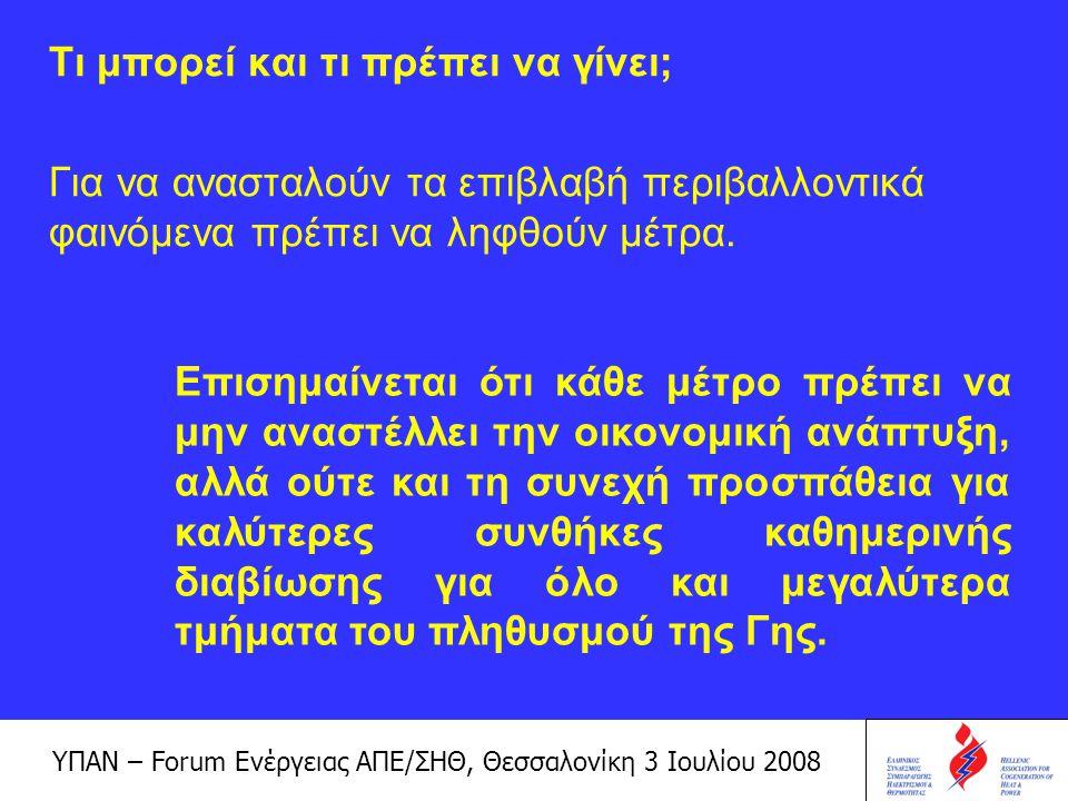 ΥΠΑΝ – Forum Ενέργειας ΑΠΕ/ΣΗΘ, Θεσσαλονίκη 3 Ιουλίου 2008 Πώς μπορεί να επιτευχθεί η μείωση των εκπομπών;  Με την παραγωγή καθαρής ενέργειας – ΑΠΕ  Με τη βέλτιστη αξιοποίηση των διατιθέμενων καυσίμων – ΣΗΘ  Με την εφαρμογή μέτρων εξοικονόμησης και ορθολογικής χρήσης της ενέργειας – περιορισμός της σπατάλης και επίτευξη υψηλής ενεργειακής αποδοτικότητας  Με άλλα υποστηρικτικά μέσα – μηχανισμοί Κιότο Απώτερος σκοπός: η βιώσιμη διαχείριση του περιβάλλοντος Άμεσος στόχος: η οικονομική βιωσιμότητα των έργων και των εγκαταστάσεων, μέσα σε ένα συνεχώς μεταβαλλόμενο θεσμικό, νομικό και κοινωνικό εθνικό και διεθνές πλαίσιο