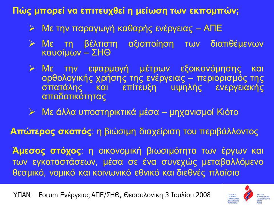 ΥΠΑΝ – Forum Ενέργειας ΑΠΕ/ΣΗΘ, Θεσσαλονίκη 3 Ιουλίου 2008 Με τον τρόπο αυτό αξιοποιούνται: –οι φυσικά ανανεώσιμοι πόροι (ΑΠΕ) –τα ορυκτά καύσιμα –η διατιθέμενη ενέργεια Έτσι επιτυγχάνεται:  Περιορισμός των εισαγόμενων καυσίμων  Βελτιστοποίηση του ενεργειακού μίγματος των επιχειρήσεων και της χώρας  Εκλογίκευση της μεταφοράς του κόστους ενέργειας στα παραγόμενα προϊόντα και υπηρεσίες