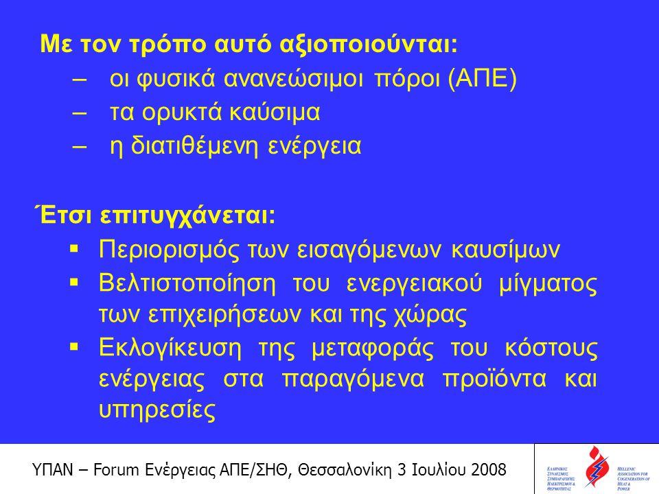 ΥΠΑΝ – Forum Ενέργειας ΑΠΕ/ΣΗΘ, Θεσσαλονίκη 3 Ιουλίου 2008 Βέλτιστη αξιοποίηση των καυσίμων:  αυτή επιτυγχάνεται με τις τεχνολογίες συμπαραγωγής Τι είναι συμπαραγωγή ; Συμπαραγωγή είναι η ταυτόχρονη παραγωγή οικονομικά εκμεταλλεύσιμης ηλεκτρικής και θερμικής ενέργειας Όταν παράγεται και ψυκτική ενέργεια έχουμε τριπαραγωγή