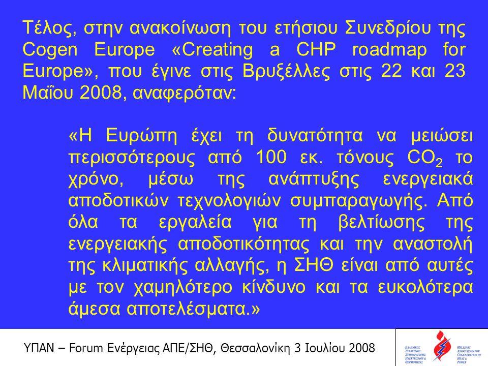 ΥΠΑΝ – Forum Ενέργειας ΑΠΕ/ΣΗΘ, Θεσσαλονίκη 3 Ιουλίου 2008 Η ΣΗΘ στην Ελλάδα σήμερα και στα επόμενα χρόνια