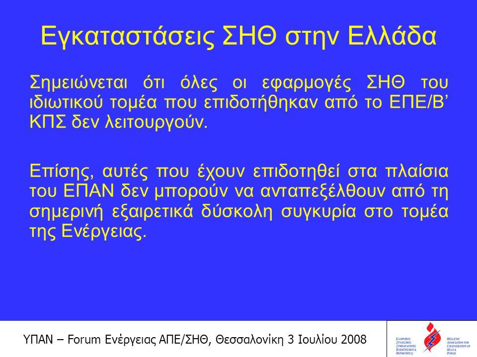 ΥΠΑΝ – Forum Ενέργειας ΑΠΕ/ΣΗΘ, Θεσσαλονίκη 3 Ιουλίου 2008 Η αγορά της Συμπαραγωγής μέχρι και σήμερα, παρ' όλα τα θετικά βήματα που έγιναν από το ΥΠΑΝ (π.χ.