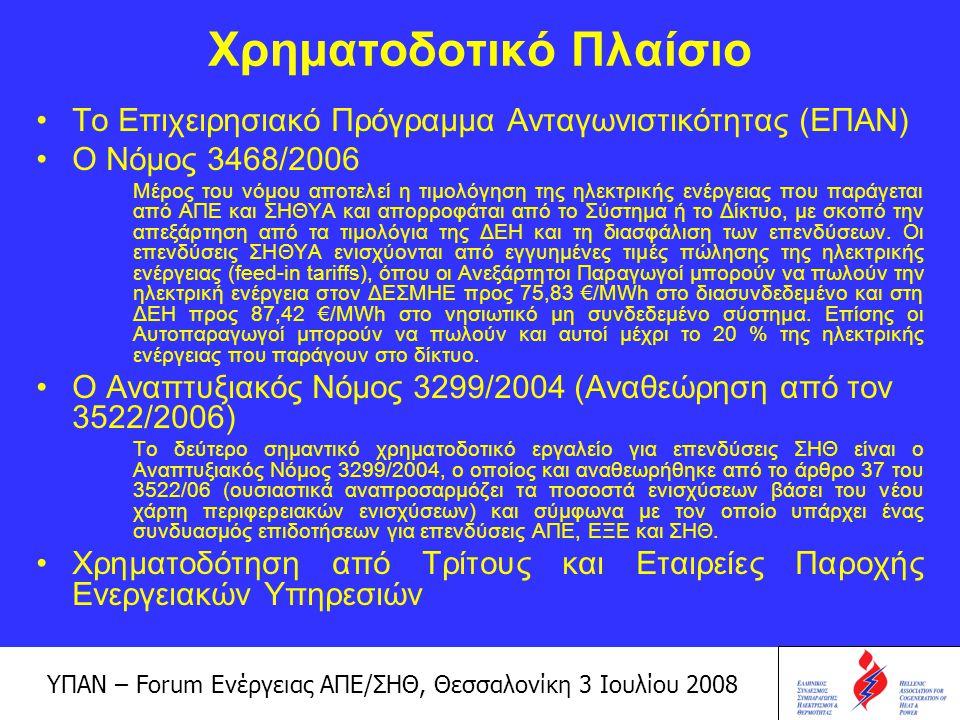 ΥΠΑΝ – Forum Ενέργειας ΑΠΕ/ΣΗΘ, Θεσσαλονίκη 3 Ιουλίου 2008 Χρήσιμες ηλεκτρονικές διευθύνσεις www.hachp.gr www.ypan.gr www.cres.gr www.cogeneurope.eu www.localpower.org Ελληνικός Σύνδεσμος Συμπαραγωγής Ηλεκτρισμού και Θερμότητας Υπουργείο Ανάπτυξης Cogen Europe – Ευρωπαϊκός Σύνδεσμος για την προώθηση της Συμπαραγωγής WADE – World Alliance for Decentralized Energy Κέντρο Ανανεώσιμων Πηγών Ενέργειας