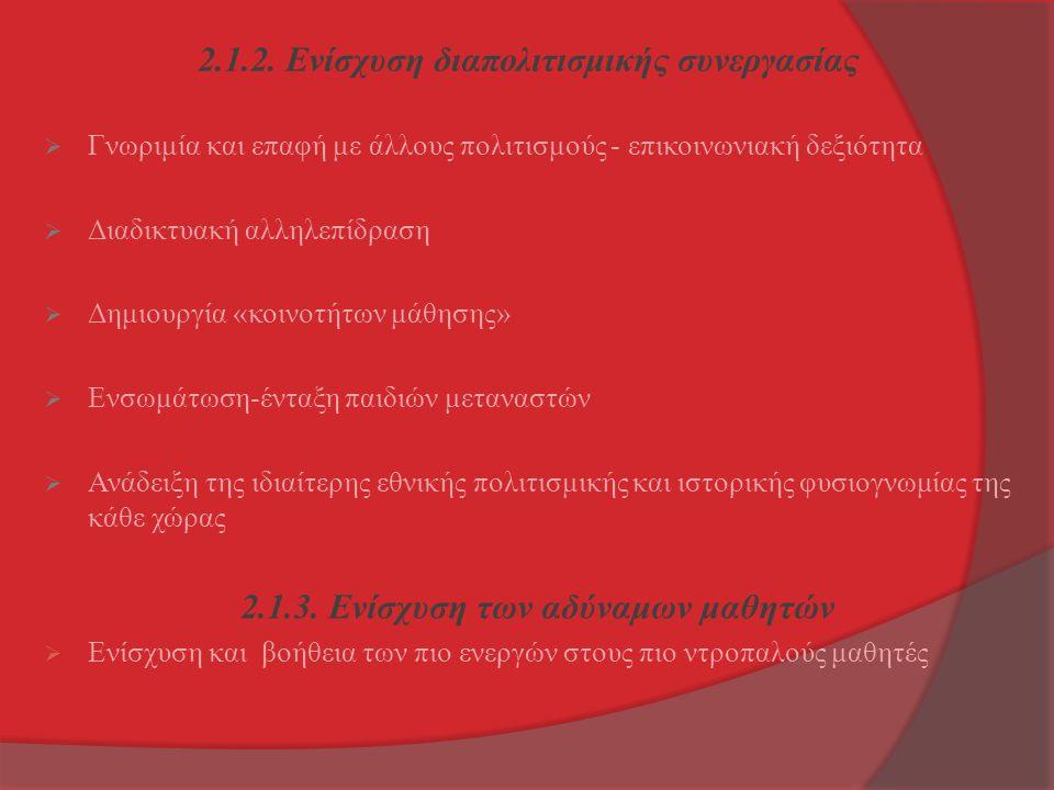2.1.2. Ενίσχυση διαπολιτισμικής συνεργασίας  Γνωριμία και επαφή με άλλους πολιτισμούς - επικοινωνιακή δεξιότητα  Διαδικτυακή αλληλεπίδραση  Δημιουρ