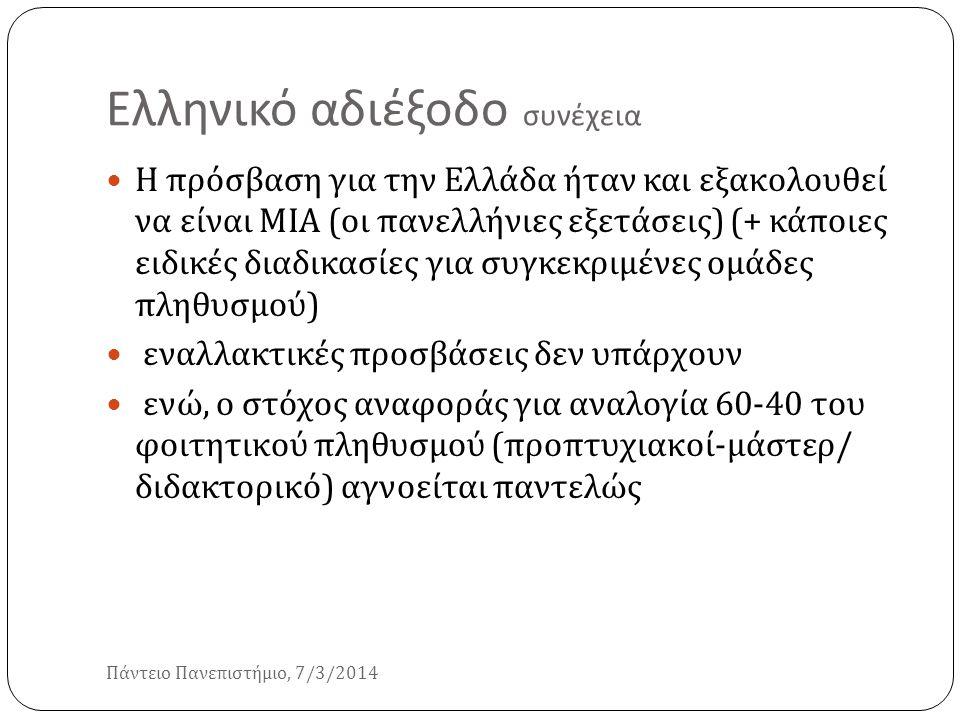 Ελληνικό αδιέξοδο συνέχεια Πάντειο Πανεπιστήμιο, 7/3/2014 Η πρόσβαση για την Ελλάδα ήταν και εξακολουθεί να είναι ΜΙΑ ( οι πανελλήνιες εξετάσεις ) (+