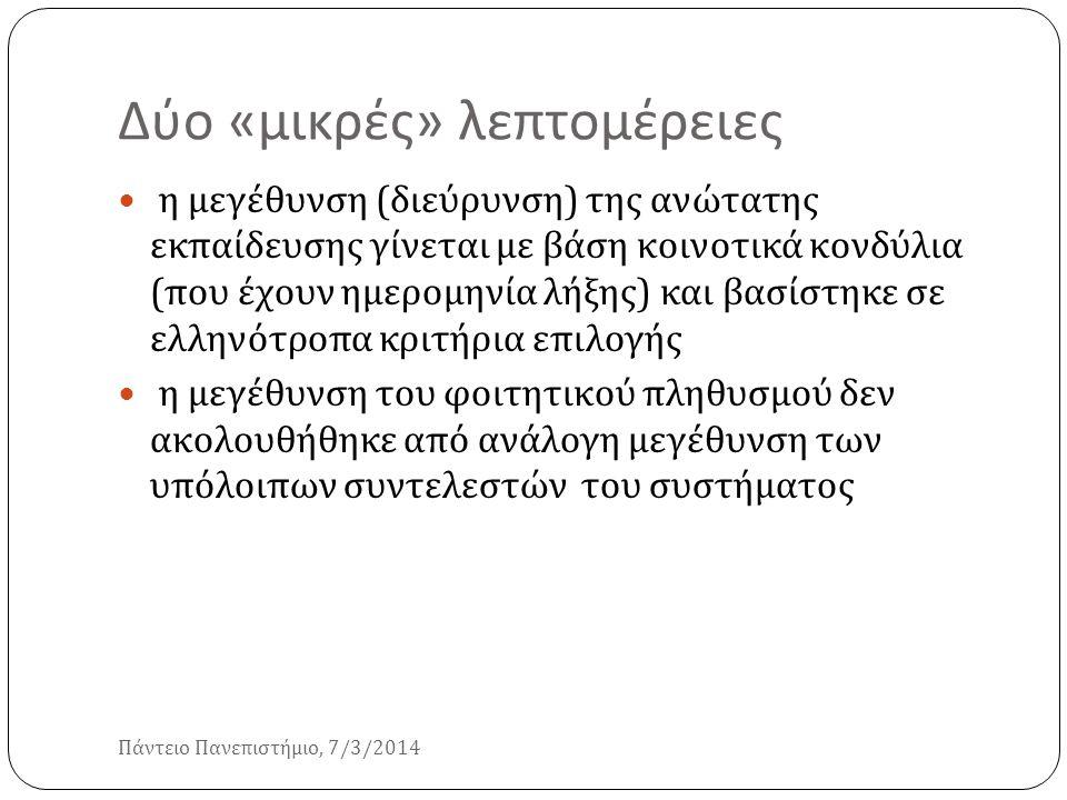 Δύο « μικρές » λεπτομέρειες Πάντειο Πανεπιστήμιο, 7/3/2014 η μεγέθυνση ( διεύρυνση ) της ανώτατης εκπαίδευσης γίνεται με βάση κοινοτικά κονδύλια ( που