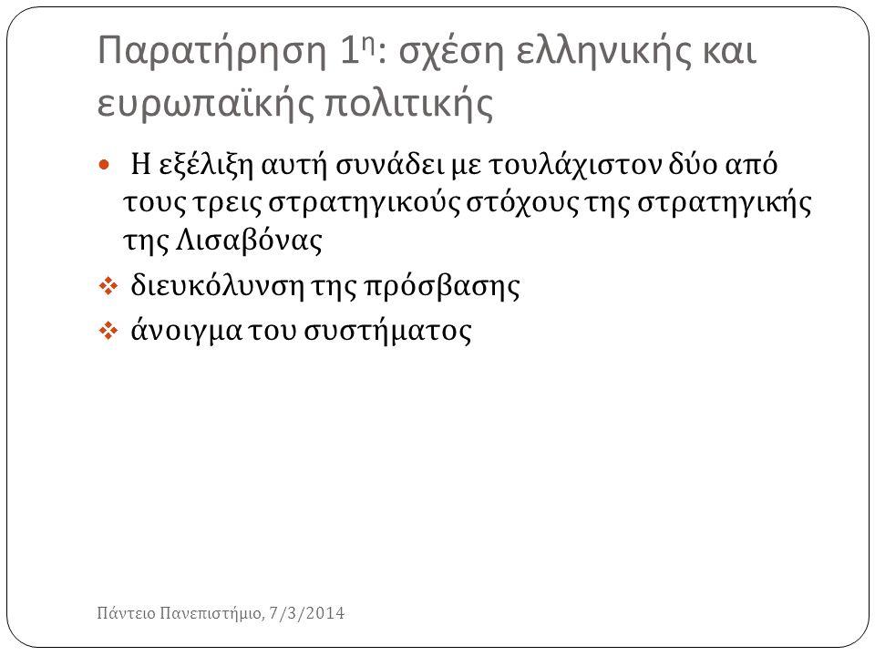 Παρατήρηση 1 η : σχέση ελληνικής και ευρωπαϊκής πολιτικής Πάντειο Πανεπιστήμιο, 7/3/2014 Η εξέλιξη αυτή συνάδει με τουλάχιστον δύο από τους τρεις στρα