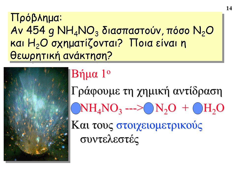 14 Πρόβλημα: Αν 454 g NH 4 NO 3 διασπαστούν, πόσο N 2 O και H 2 O σχηματίζονται? Ποια είναι η θεωρητική ανάκτηση? Βήμα 1 ο Γράφουμε τη χημική αντίδρασ
