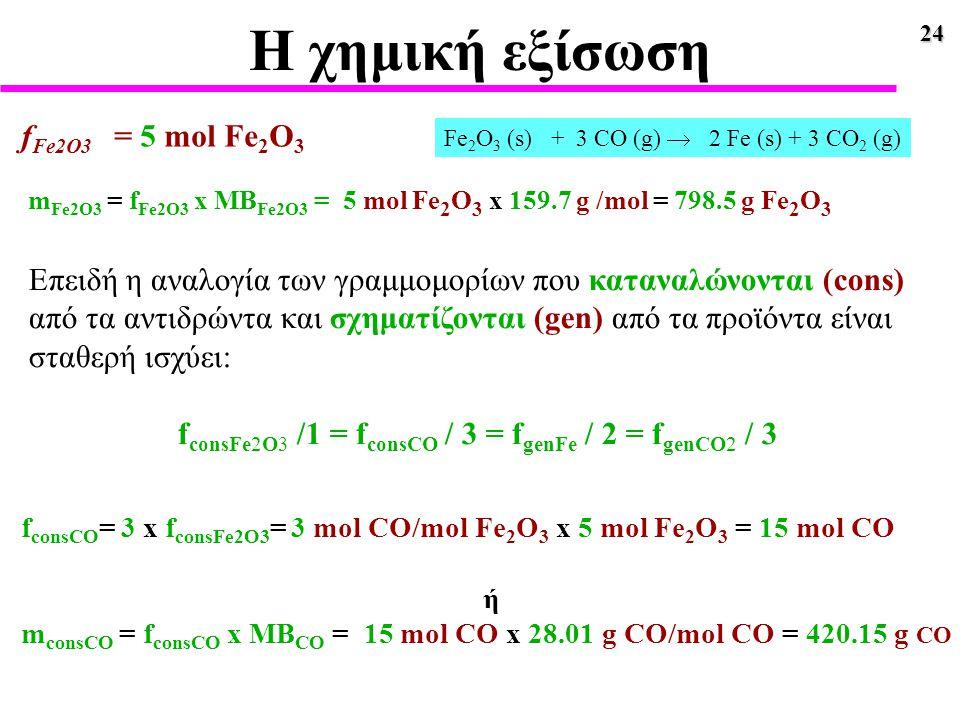 24 Η χημική εξίσωση Επειδή η αναλογία των γραμμομορίων που καταναλώνονται (cons) από τα αντιδρώντα και σχηματίζονται (gen) από τα προϊόντα είναι σταθε