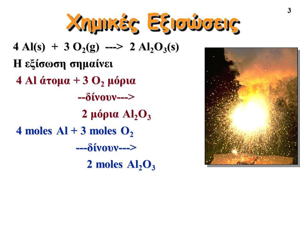 3 Χημικές Εξισώσεις 4 Al(s) + 3 O 2 (g) ---> 2 Al 2 O 3 (s) Η εξίσωση σημαίνει 4 Al άτομα + 3 O 2 μόρια --δίνουν---> 2 μόρια Al 2 O 3 2 μόρια Al 2 O 3