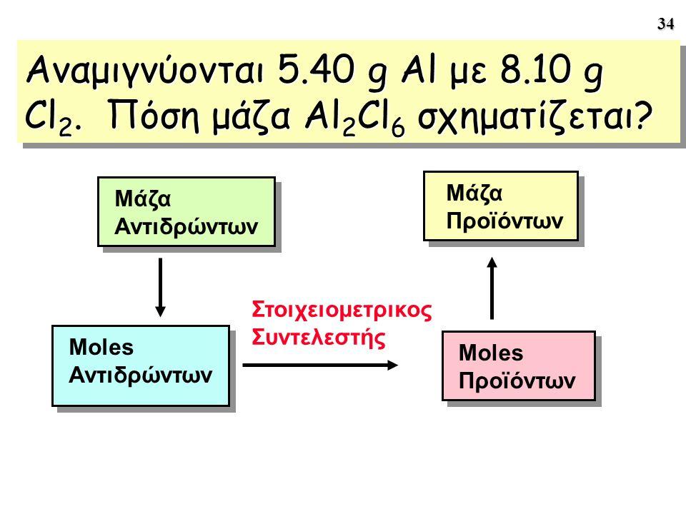 34 Αναμιγνύονται 5.40 g Al με 8.10 g Cl 2. Πόση μάζα Al 2 Cl 6 σχηματίζεται? Μάζα Αντιδρώντων Στοιχειομετρικος Συντελεστής Moles Αντιδρώντων Moles Προ