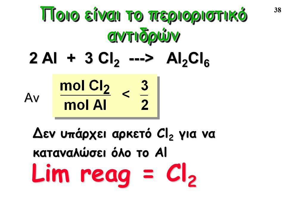 38 Αν 2 Al + 3 Cl 2 ---> Al 2 Cl 6 Lim reag = Cl 2 Ποιο είναι το περιοριστικό αντιδρών Δεν υπάρχει αρκετό Cl 2 για να καταναλώσει όλο το Al