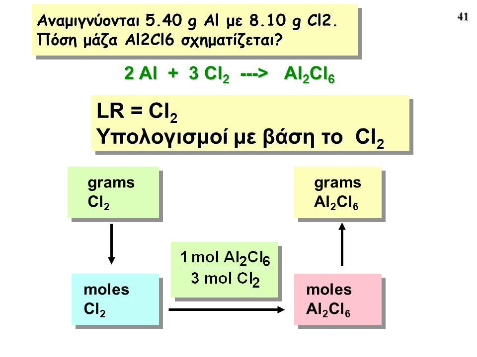 41 LR = Cl 2 Υπολογισμοί με βάση το Cl 2 LR = Cl 2 Υπολογισμοί με βάση το Cl 2 moles Cl 2 moles Al 2 Cl 6 grams Cl 2 grams Al 2 Cl 6 2 Al + 3 Cl 2 ---