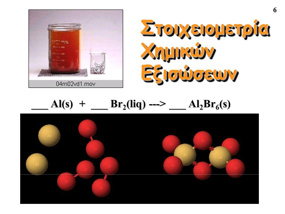 6 Στοιχειομετρία Χημικών Εξισώσεων ___ Al(s) + ___ Br 2 (liq) ---> ___ Al 2 Br 6 (s)